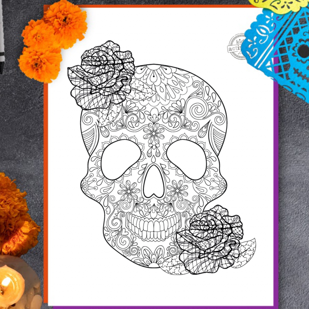 Day of the Dead Zentangle Coloring Page