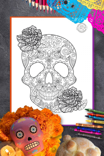 Day of the Dead Zentangle Coloring Page Vertical