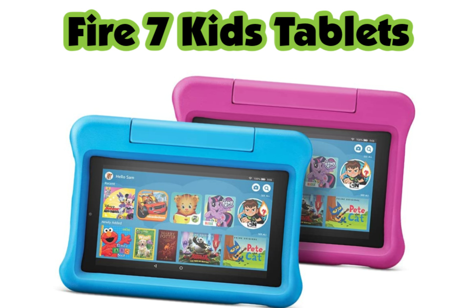 Fire 7 Kids Tablets- Tablets for kids that come with 16 GB of space and a kid-proof case.