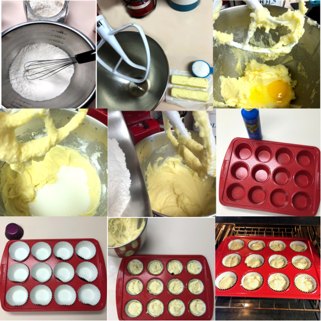 Collage of making cupcake batter: first mixing dry ingredients, then wet ingredients, filling the cupcake pan, and putting the pan in the oven.