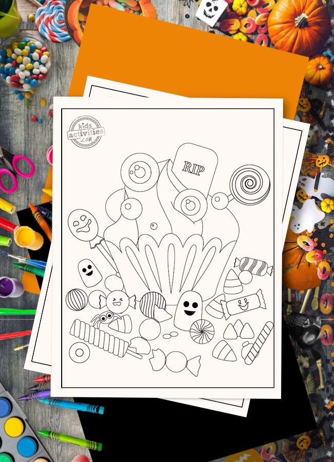 Halloween Candy Coloring Page Cupcake