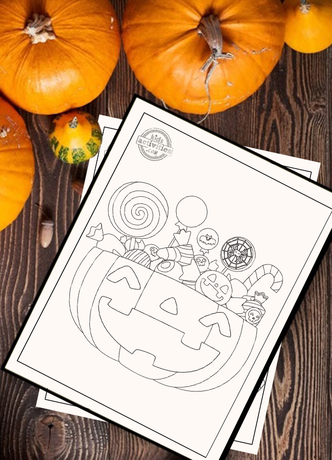 Halloween Candy Coloring Page Pumpkin