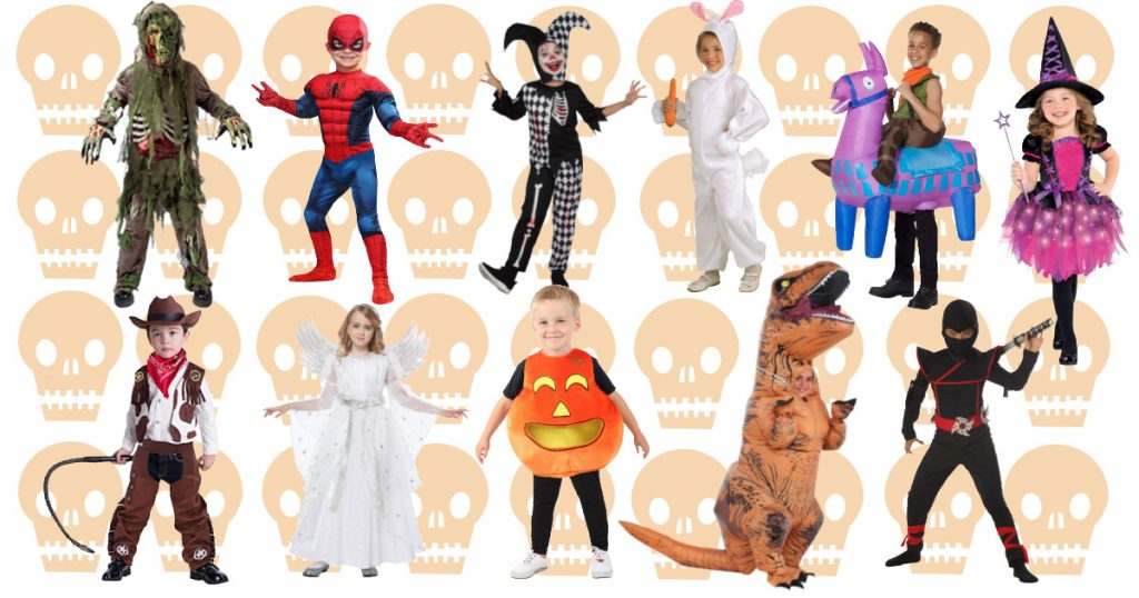 A collage of the top kids Halloween costumes for 2020!