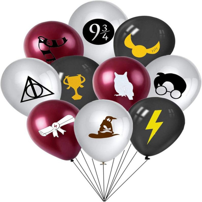 Harry Potter set of balloons. White ones with the Deathly Hallows symbol, the nine and three quarters sign, a silhouette of Harry Potter's head, and the Sorting Hat. Red ones with a scarf, a white owl silhouette, and a rolled piece of parchment. Black ones with a snitch, a house cup, and a lightning bolt.