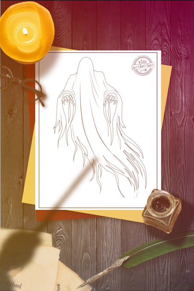 Harry Potter Dementor coloring page with a floating Dementor on a white paper, set on a wooden table that has round, black glasses, a lit candle, an open ink pot, a green quill, and a shadow of a hand holding a wand above it.