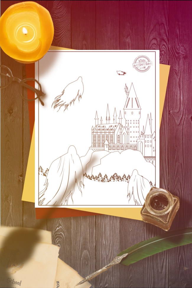 Harry Potter coloring page of the Hogwarts castle with Dementors floating around it, set on a white page on a wooden desk that has round, black glasses, a lit candle, and open ink pot, a green quill, and a shadow of a hand holding a wand above it.