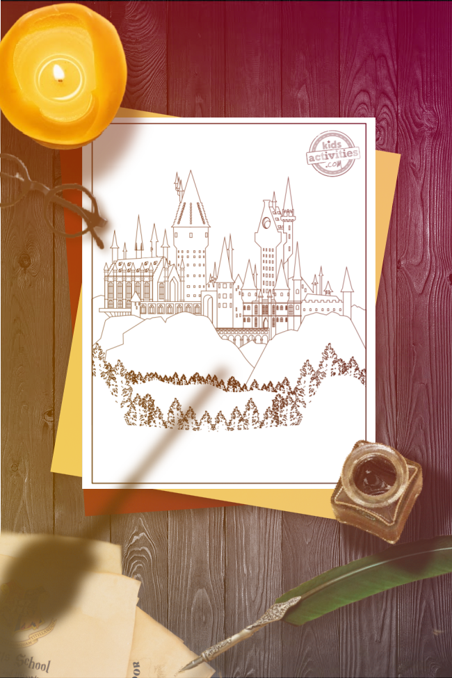 Harry Potter coloring page of the Hogwarts Castle set on a white page on a wooden desk that has round, black glasses, a lit candle, an open ink pot, a green quill, and a shadow of a hand holding a wand above it.