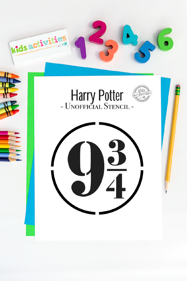 Harry Potter stencil of Hogwarts train nine and three quarters sign