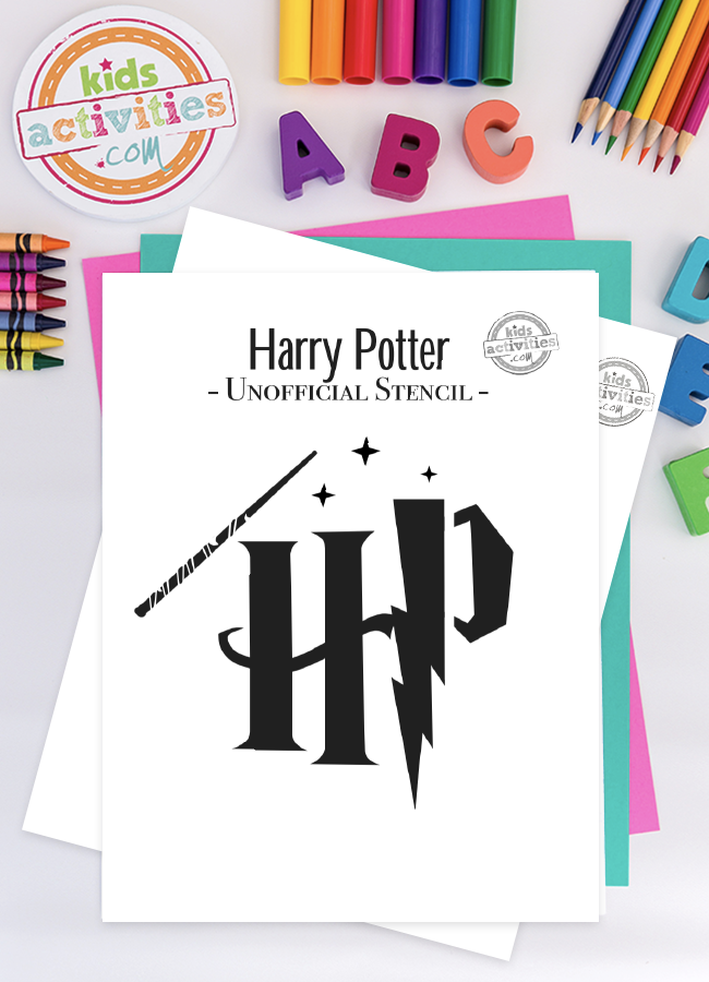 Harry Potter stencil of wand, Harry Potter's initials with lightning bolt and a few sparkles just for fun. Pictured on top of blue and green paper, surrounded by a pencil, crayons, and coloring pencils
