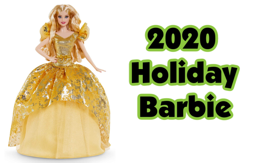 Barbie Signature 2020 Holiday Barbie- A blond Barbie doll with a reflective gold dress and gold earrings.