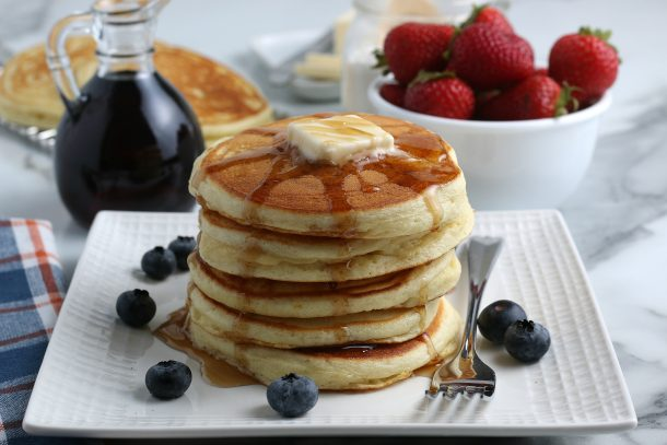 Homemade Pancake Mix Recipe from scratch - stack of pancakes once everything is done