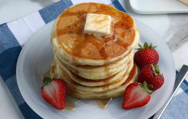 Homemade Pancake Mix recipe - stack of homemade pancakes from recipe
