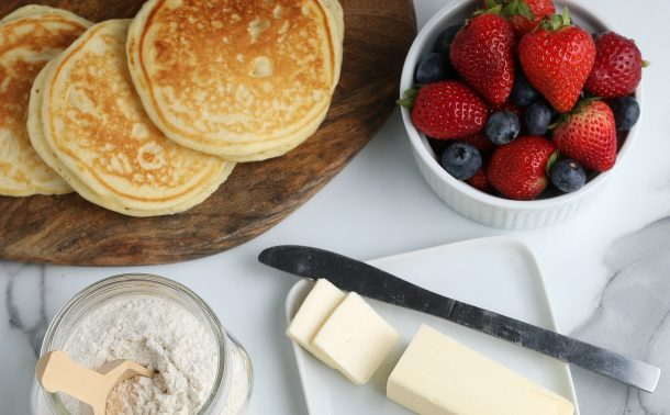 Homemade Pancake Mix Recipe - make pancakes from scratch - pancakes on a cutting board