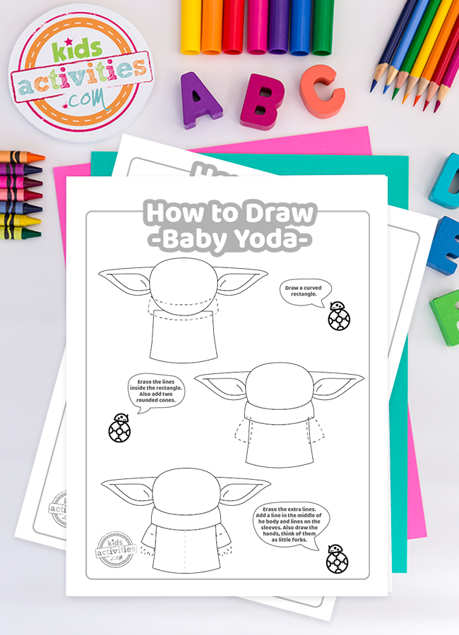 How to Draw Baby Yoda printable instructions - the child mandalorian tutorial