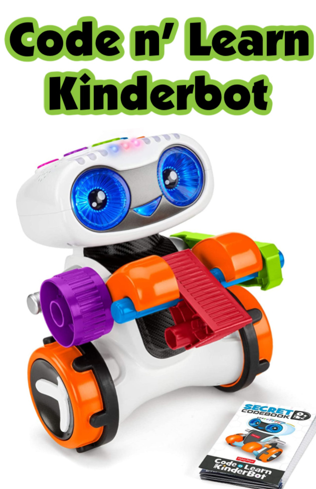 Fischer-Price Code n' Learn Kinderbot- A little robot that's the perfect Christmas toy. Kinderbot lights up, makes sounds, and moves around when secret codes are put in.