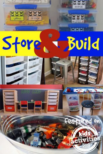 LEGO building and LEGO storage solutions - Kids Activities Blog - shown are 6 different LEGO storage systems