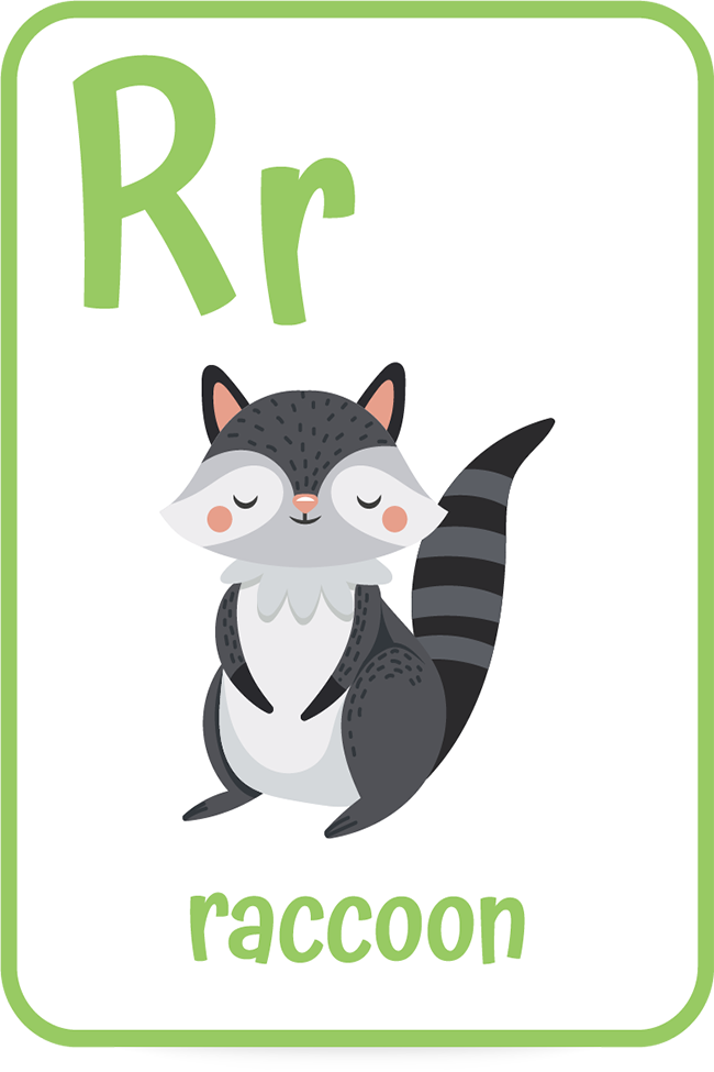 Words that start with the letter R like raccoon