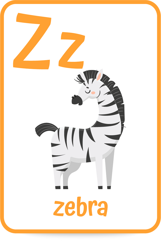 Words that start with the letter z like zebra