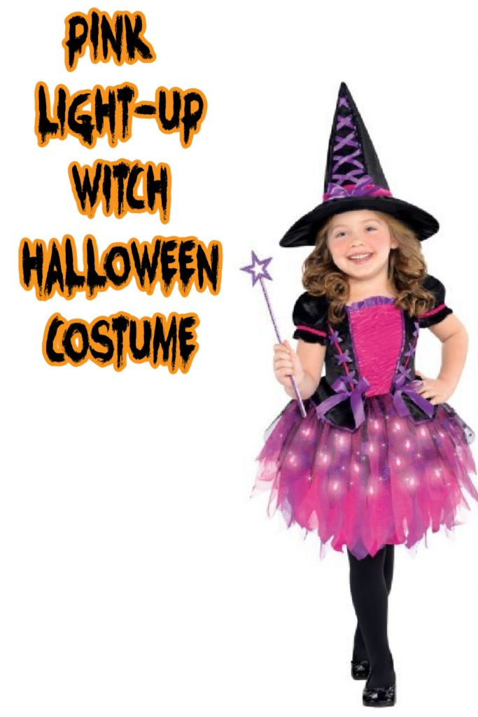 This pink-light up witch costume is one of the top kids Halloween costumes from 2020!