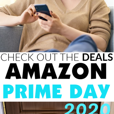 Top Image: Woman browsing Amazon Prime Mobile Site. Text: Check out the deals! Amazon Prime Day 2020. Bottom Image: Amazon Product Packages delivered to the door