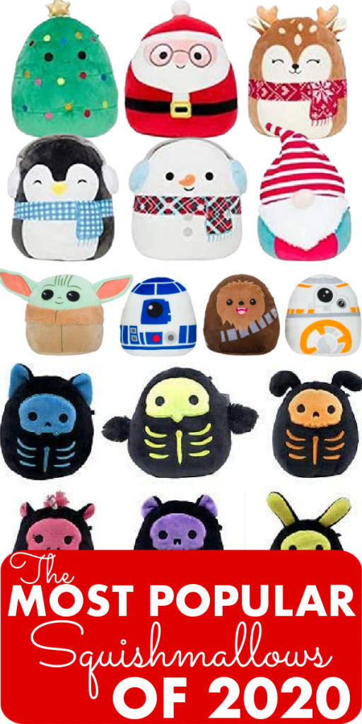 """Many popular squishmallows sit above the text """"The Most Popular Squishmallows of 2020"""". They include the skeleton squad, star wars such as baby yoda, and christmas"""