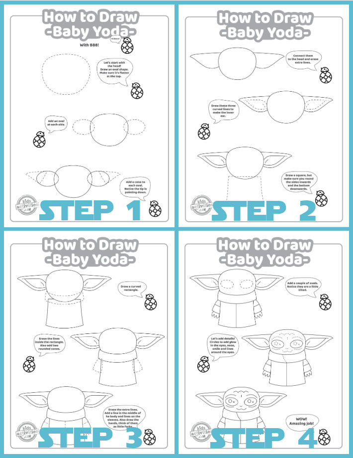 Printable steps to draw Baby Yoda with BB8 teaching from Kids Activities Blog