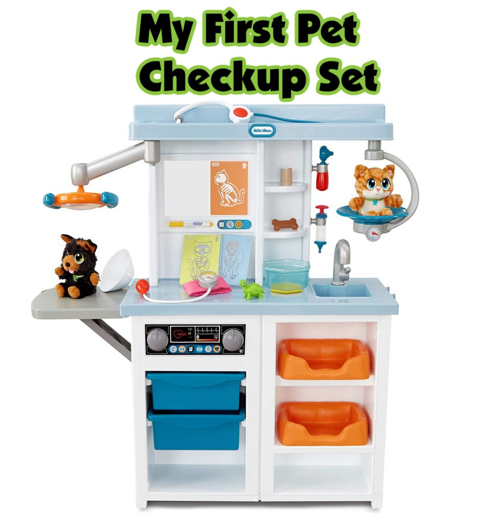 Little Tikes My First Pet Checkup Set Veterinarian Playset- The best Christmas gift idea for the little animal lovers in your life. Includes animal plushies, x-ray slides, a working pretend scale, and storage bins.