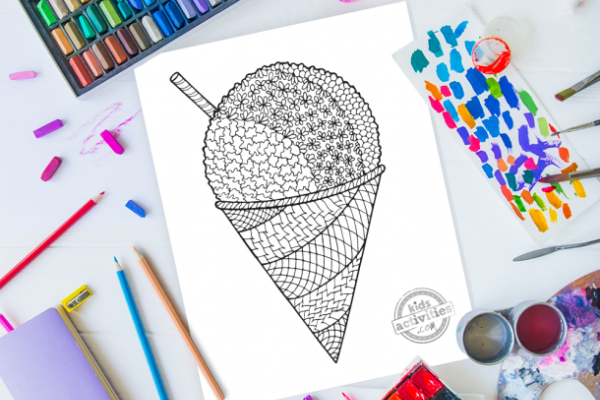 Zentangle snow cone coloring sheet with a ton of design