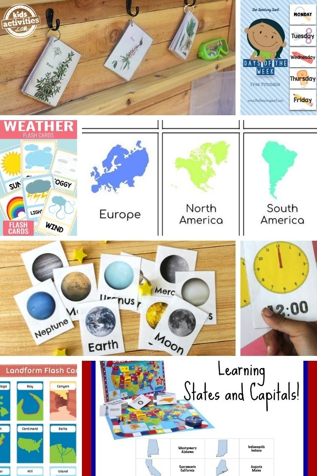 collage of how to make flashcards science theme