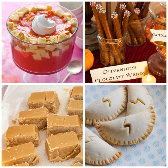 Harry Potter collage of treats with a treacle tart, butterbeer fudge, Olivander's chocolate wands, and lighting bolt pumpkin pasties.