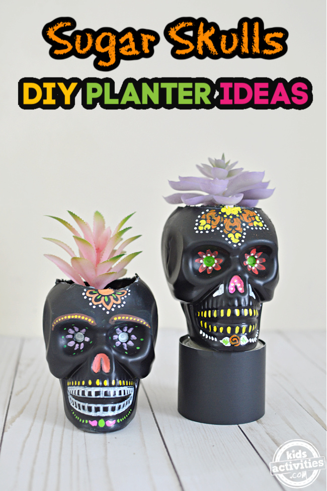 Sugar skulls DIY planter ideas for the day of the dead