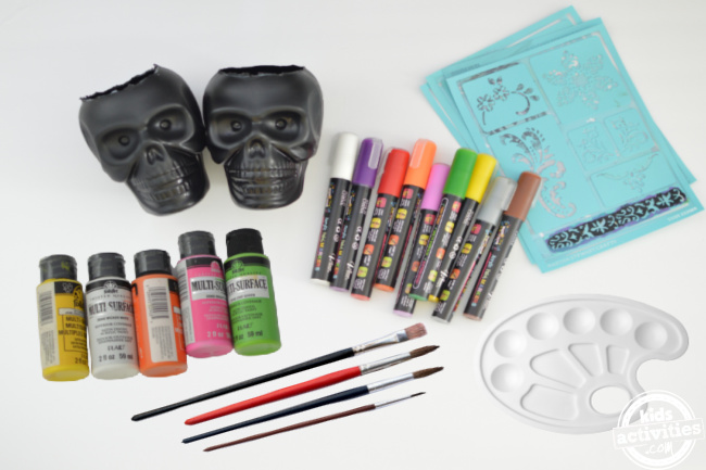 supplies for making day of the dead planters