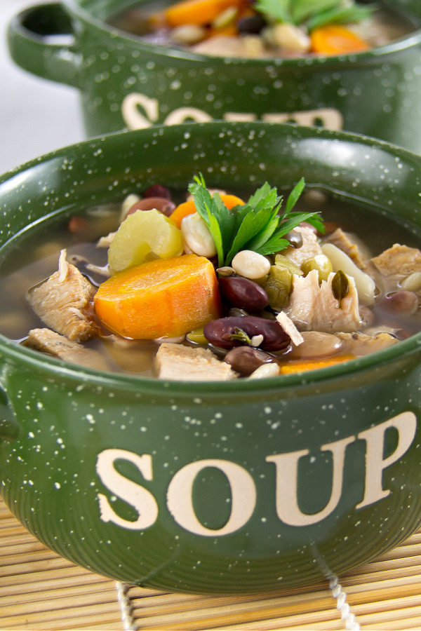 Homemade 15 Bean and Leftover Turkey Slow Cooker Soup Recipe