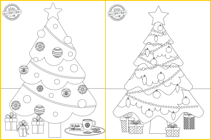 2 Christmas coloring pages from Kids Activities Blog - Christmas trees