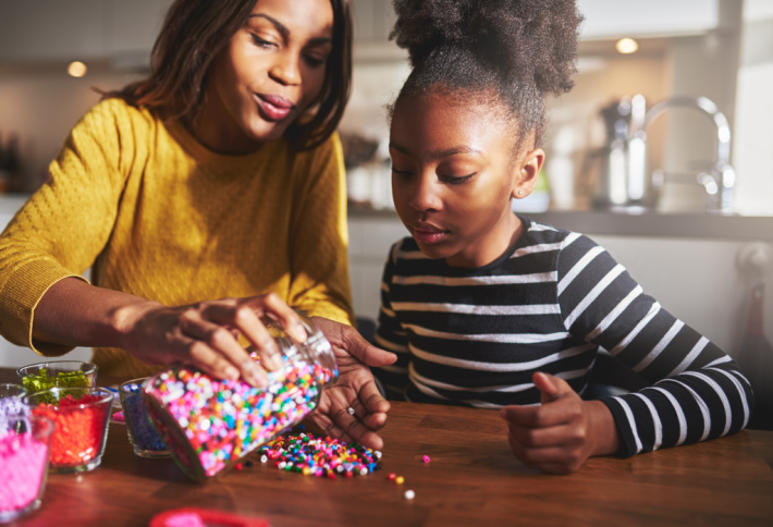 5 Minute crafts are not just for kids - adults love them too - Kids Activities Blog - mom and daughter crafting together