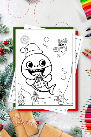 Baby Shark Christmas Coloring Pages