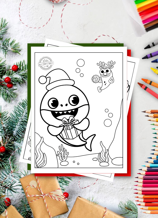 Free Baby Shark Christmas Coloring Pages For Kids