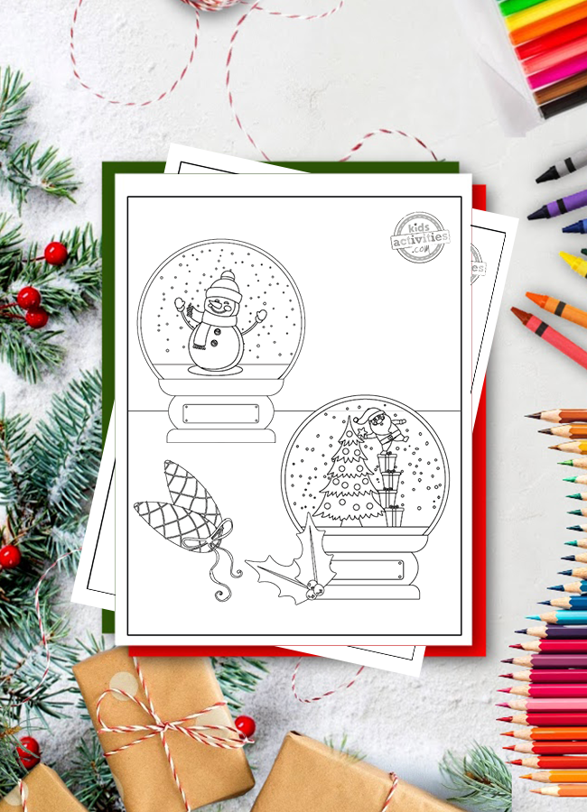 free printable snow globe coloring pages