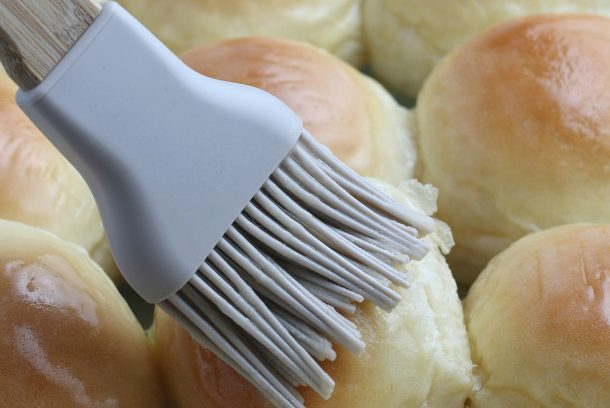 Homemade Dinner Rolls - Step brush with melted butter
