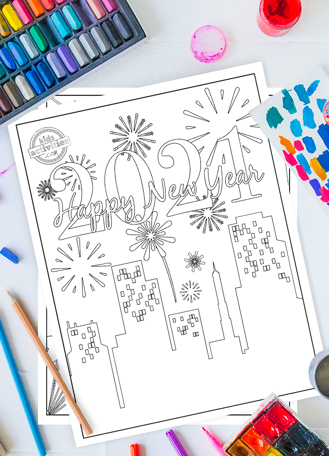 Happy new year coloring page 2021