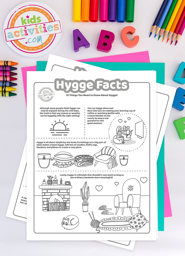 Hygge style coloring pages