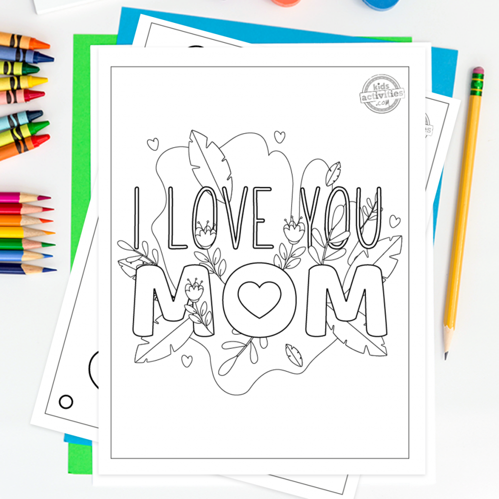 Coloring pages of I love you mom