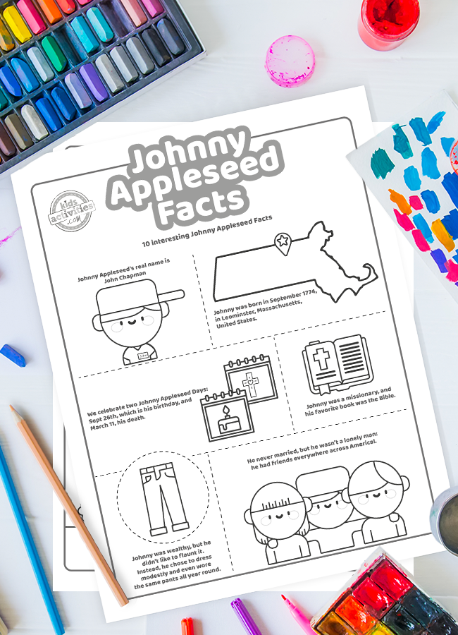 10 Fun Facts About Johnny Appleseed with Printout Coloring Page for Kids