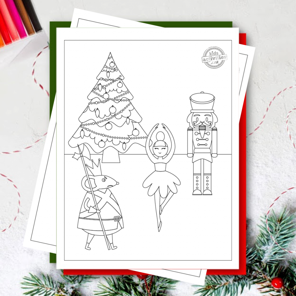 Nutcracker coloring page with nutcracker, christmas tree, the Rat King and a ballerina on top of other coloring pages and red and green paper, with Christmas tree branches and brightly colored markers