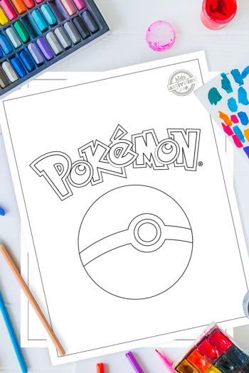 Poke Ball Pokemon coloring pages on a desk with art supplies - paint, pencils and pastels. The top coloring page is a pokeball with stylized 'Pokemon' word above it