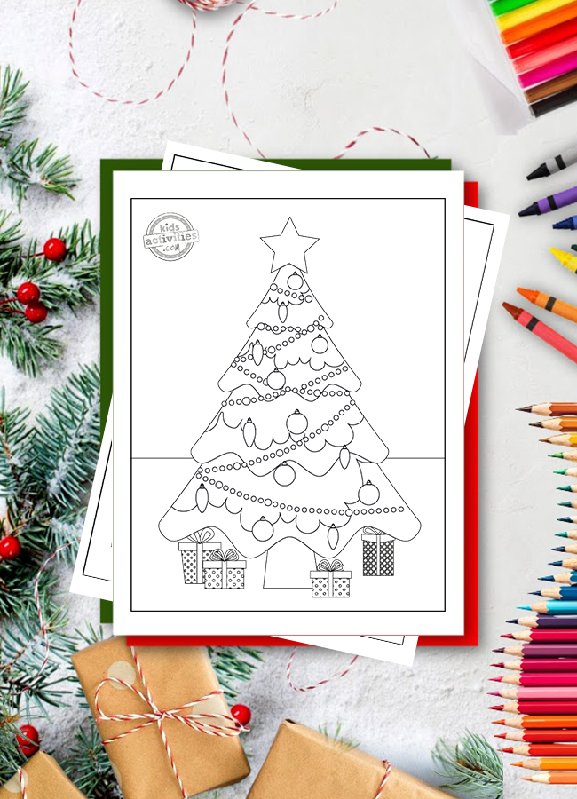 free Christmas tree coloring pages - Kids Activities Blog - Christmas tree with star and presents shown