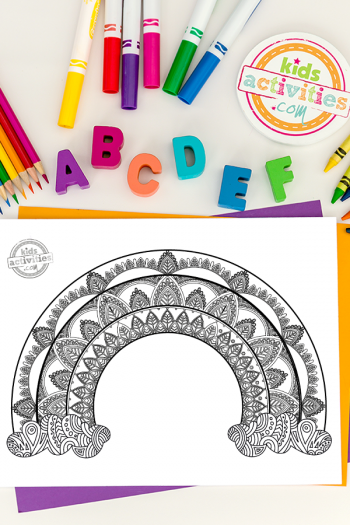Rainbow Zentangle Coloring Page