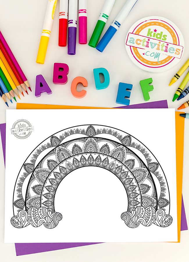 Gorgeous Rainbow Zentangle Coloring Page For Kids