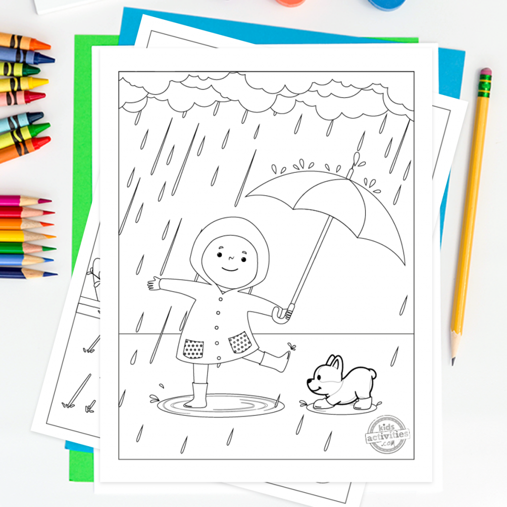 free rainy day coloring pages