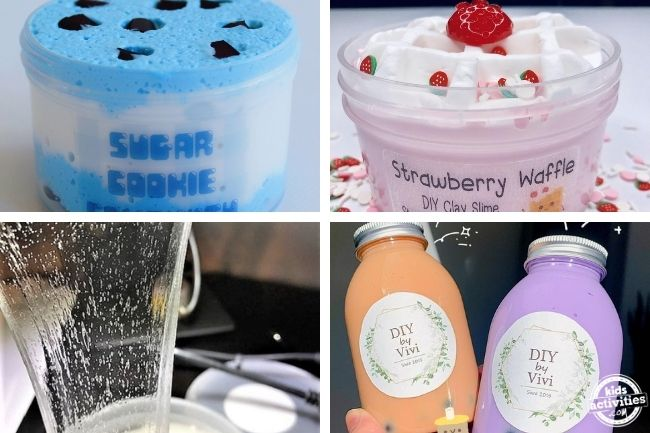 clear slime, boba milk tea and more slime ideas